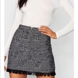 Freyed Hem Woven Check Mini Skirt